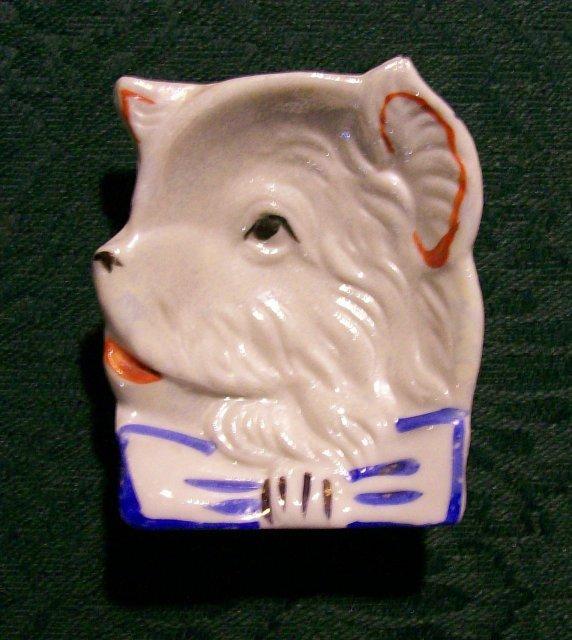 Terrier Dog Ceramic Ashtray Japan Luster 1930's
