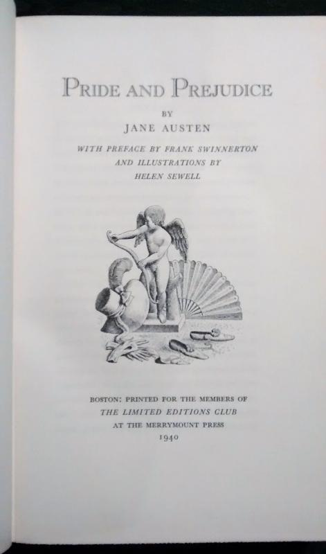 Pride and Prejudice by Jane Austen Limited Editions Club 1940 w/Slipcase