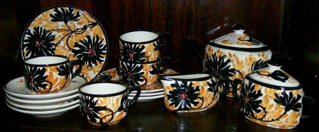 Schramberg Irma German Ceramic Tea Set 1920's Black/Orange Flowers 15 Pieces