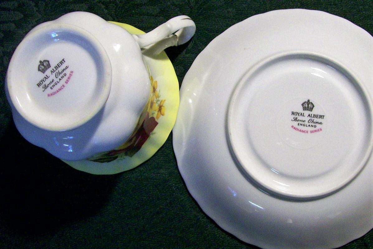 Royal Albert Bone China Cup & Saucer Radiance Series Rose on Yellow
