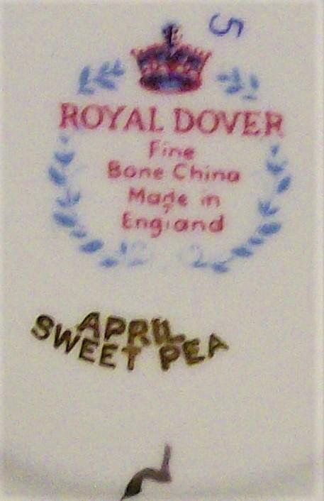Royal Dover Bone China Cup & Saucer April Sweet Pea 1950s