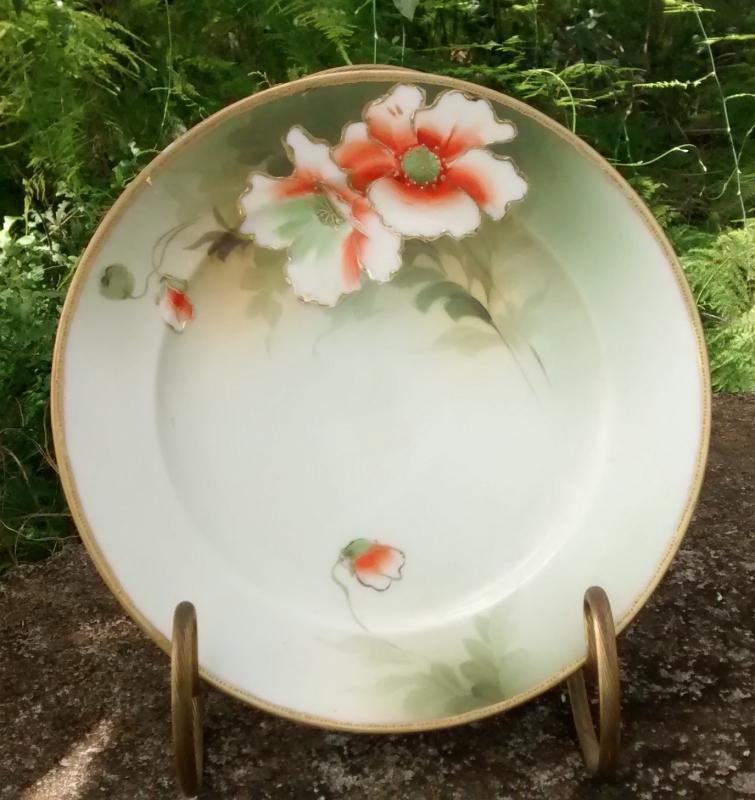 Noritake Nippon Gold Encrusted Plate w/Orange Poppies HP 7 5/8