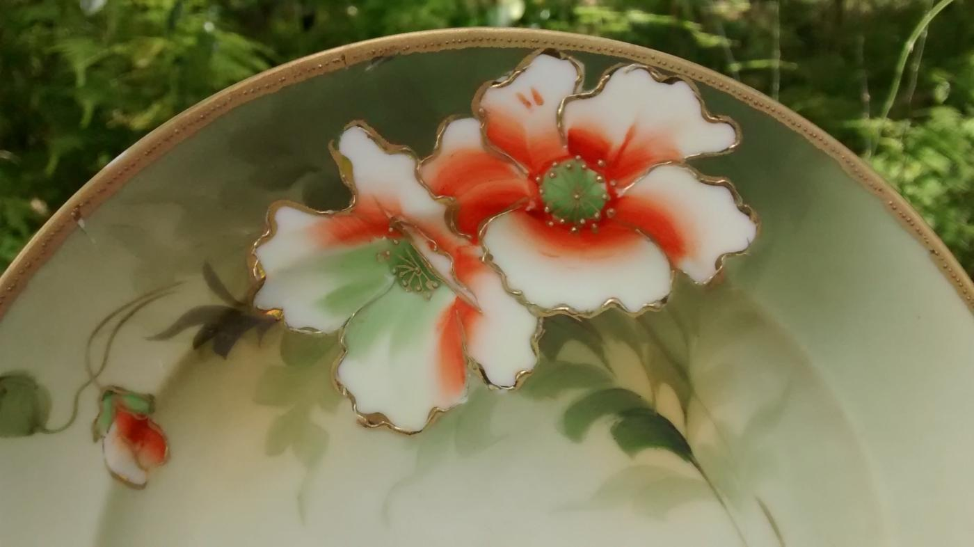 Noritake Nippon Gold Encrusted Plate w/Orange Poppies HP 7 5/8