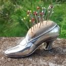 Gorham Sterling Silver Shoe Pincushion w/Pins 1909