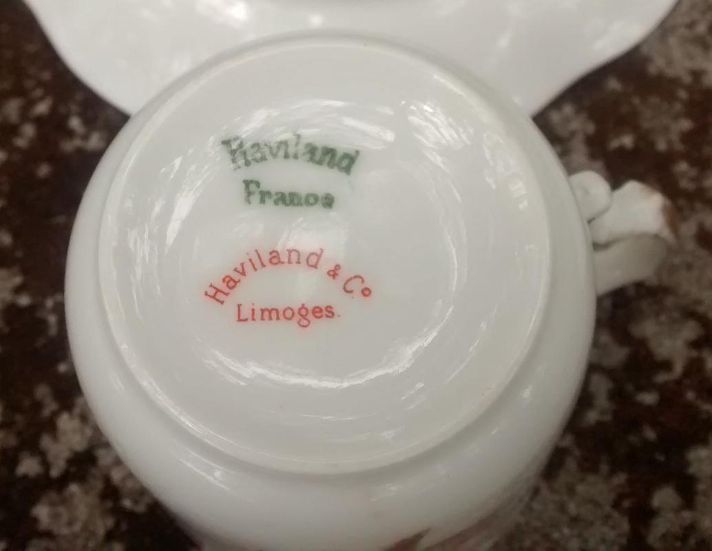 Haviland Limoges Demitasse Cups & Saucers Set of 2 Pink Floral 1893-1930