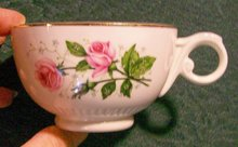 Hall Superior China Heather Rose Ceramic Cup Pair Ca. 1955 Pink Roses Gold Trim