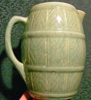 Zanesville Stoneware Pitcher: Barrel Form #43B Green 8.5