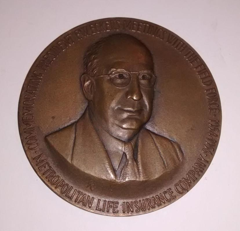 Advertising Bronze Paperweight Metropolitan Life Insurance 1956