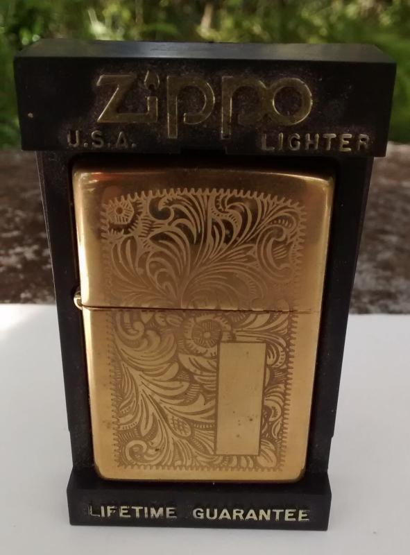 Zippo Lighter Brass Venetian Unused 1998 Partial Case/Paperwork