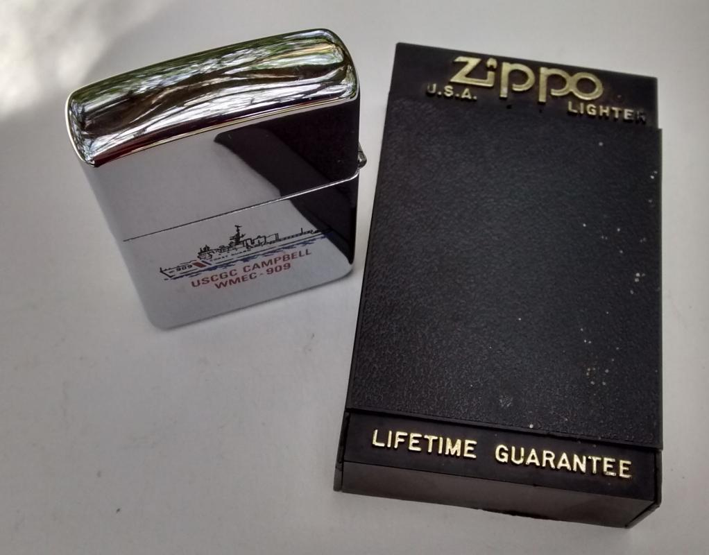 Zippo Lighter US Coast Guard Campbell Unused 1995 Case/Paperwork