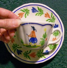 Brittany Ceramic Cup & Saucer Longchamps France French Peasant
