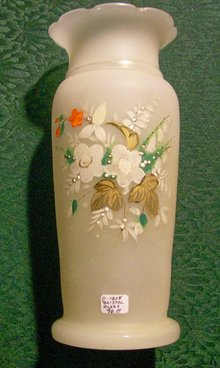 Bristol Glass Vase Hand-Painted Multicolor Florals & Gold Late 1800's 9.5