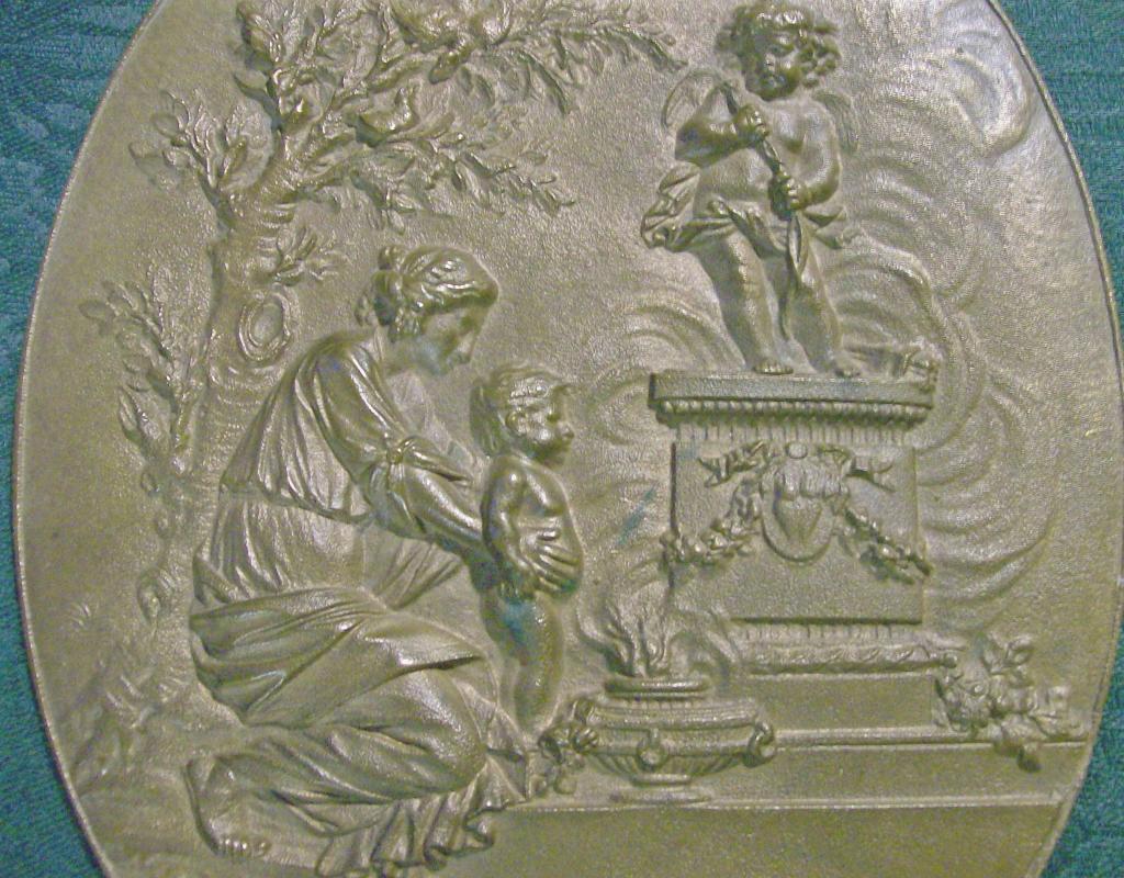 Bronze Plaque Classical Greek/Roman Woman & Child Ca. 1870s 9.75