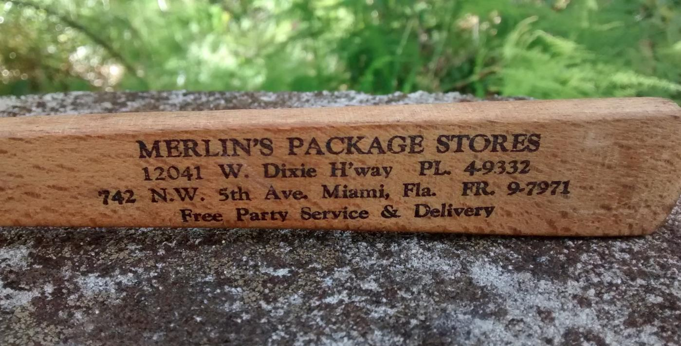 Miami Advertising Fork 1950s Merlin's Package Stores Maple Wood