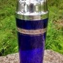 Cobalt Blue Glass Cocktail Shaker Morgantown or Tiffin Minton Platinum Encrusted Band 1930s