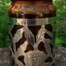 Taxco Mexico Sterling Silver Overlay Jar w/Lid Amber Glass 4.75