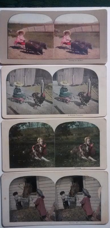 Stereoview Card Set/4 Children/Farm Animals 1890s Color