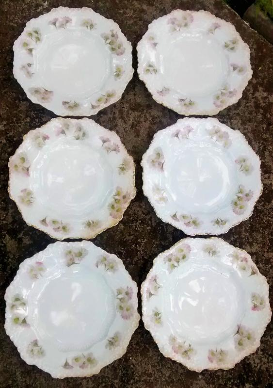 Hermann Ohme Silesia Plate Set/6 Pink/Lavender Daisies 1882+ 6.5