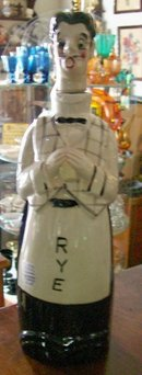 Musical Rye Whiskey Ceramic Liquor Decanter Figural Singing Waiter 1950's