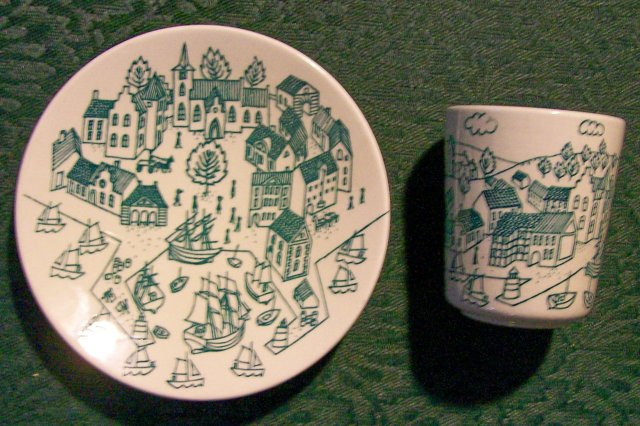 Nymolle Art Faience Ceramic Demitasse Cup & Saucer Pair Ltd Ed #4006 Denmark 1970s Hoyrup
