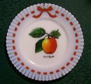 MacBeth Evans Petalware Milk Glass Plate Crab Apple Decal 1930-40 8