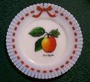 Milk Glass Plate with Crab Apple Decal: MacBeth Evans Petalware