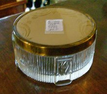 1950's Vanity Powder Jar Metal Lid w/ Celluloid Insert & Enamel