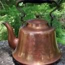 Copper Teapot Hammered Floral Design Brass Handle