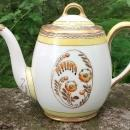 Limoges Teapot Art Deco Orange Floral 5.5