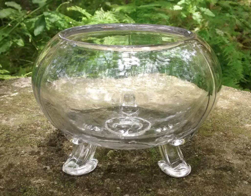 Viking Flora-lite Glass Flower Bowl Clear 1950's-70's #1007