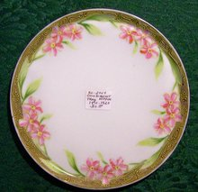 Noritake Nippon Porcelain Condiment Tray Pink Flowers Moriage Trim 6 1/8