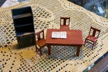 Dollhouse Miniature Chairs, Table & Hutch Signed Ben & Barbara Holland 1982