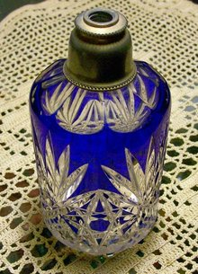 Bohemian Crystal Perfume Bottle: Cobalt Cut-to-Clear