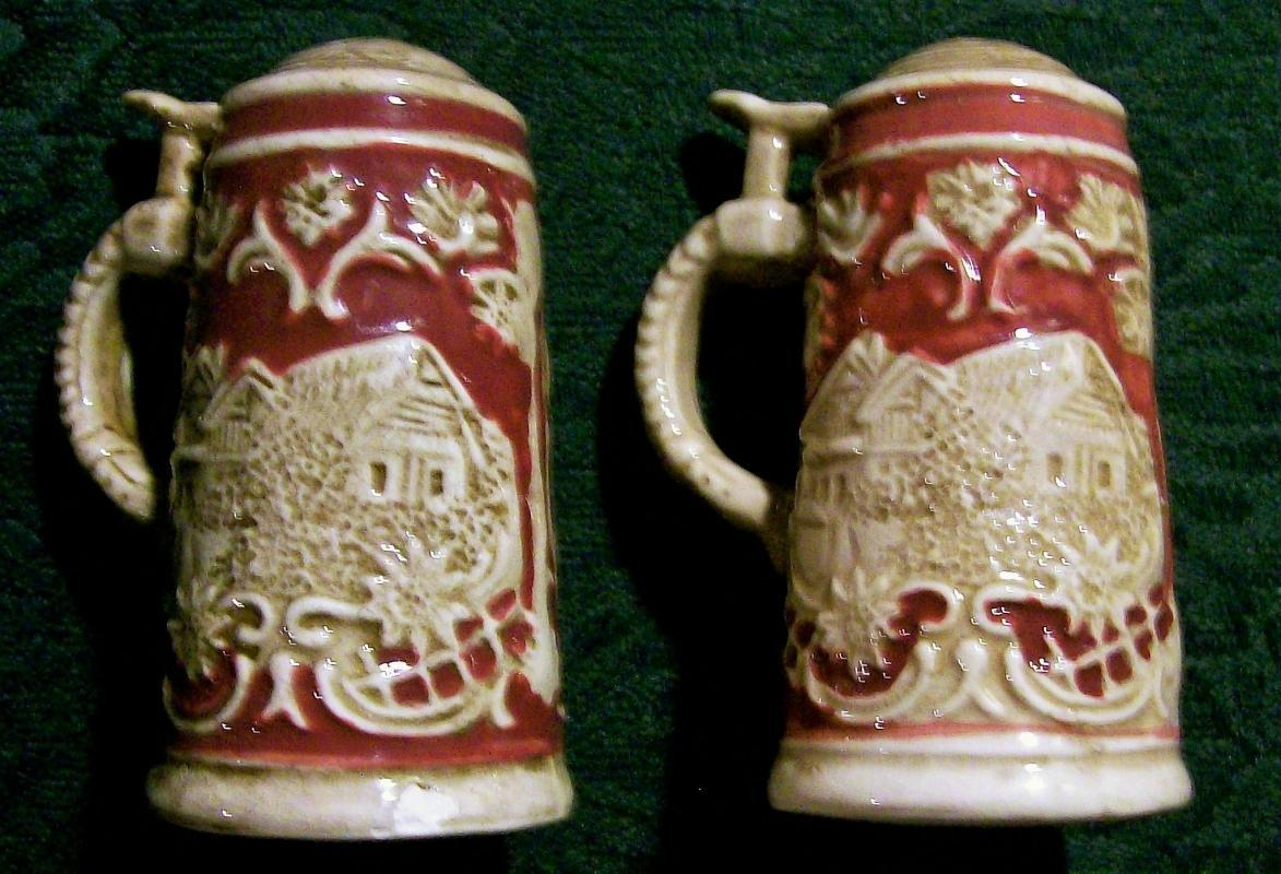 German Beer Stein Salt & Pepper Shakers Ca. 1950 Ceramic