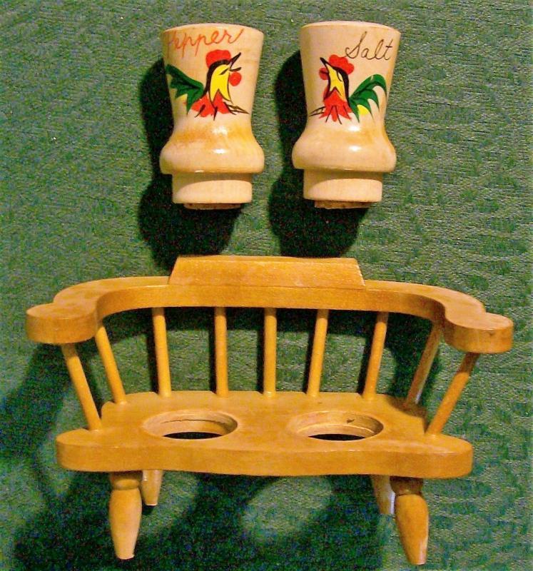 Rooster Salt & Pepper Wood Shakers w/ Bench Holder 1950s