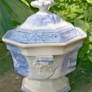 Colonna Staffordshire Sauce Tureen w/Lid Goodfellow 1828-59 Blue & White