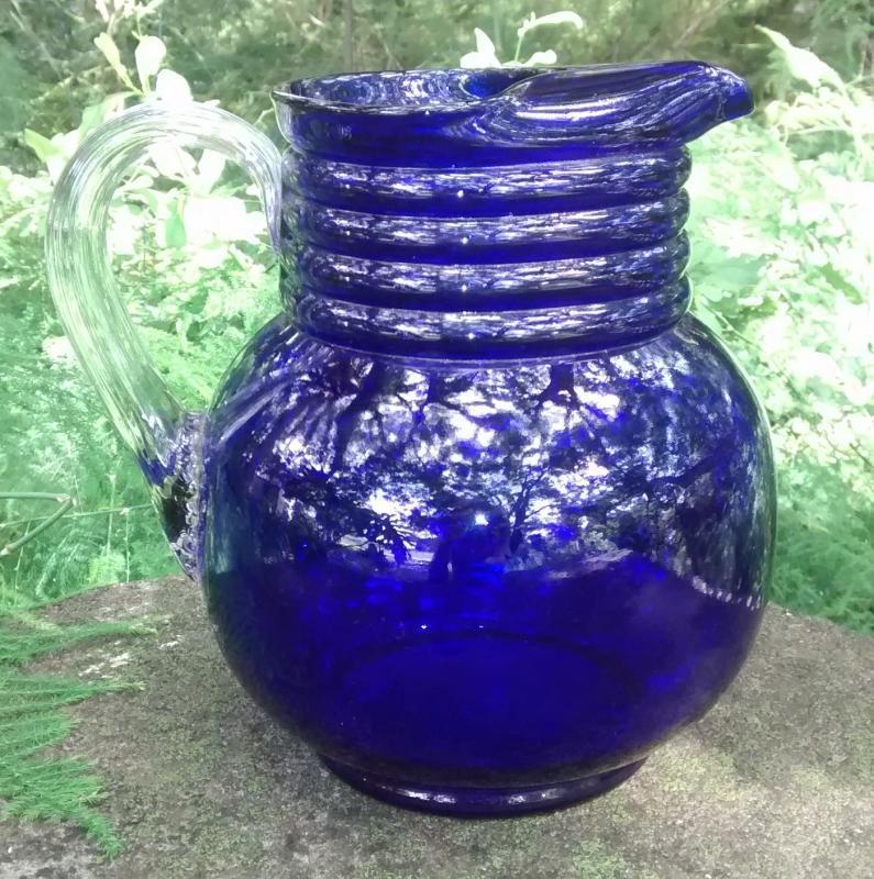 Weston Cobalt Blue Glass Ball Jug 7.5