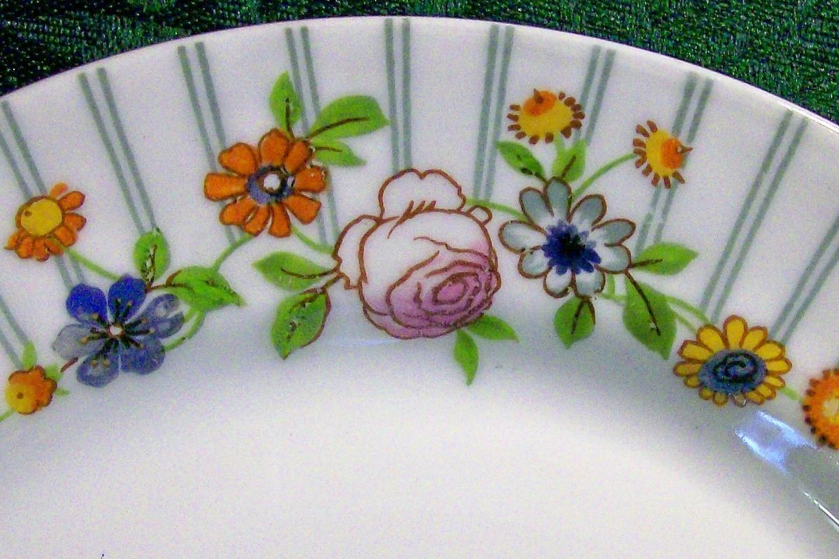 Pouyat Limoges Plate Ca. 1930 Porcelain Blue Stripes & Posies