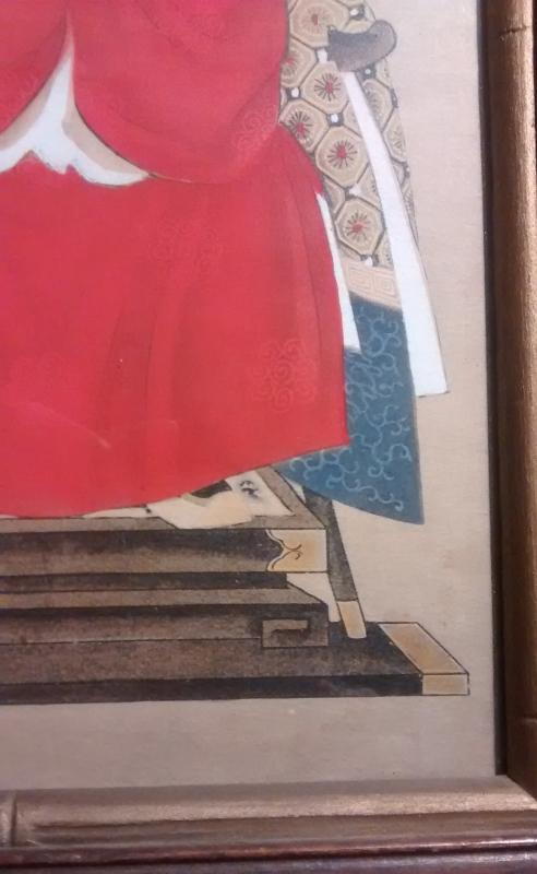 Chinese Ancestor Watercolor Painting Framed w/Glass Emperor?