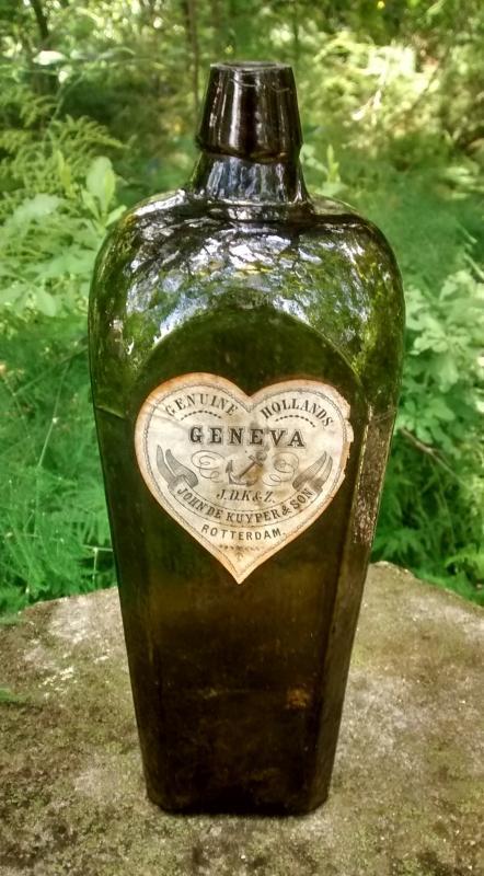De Kuyper Geneva Gin Bottle Ca. 1880 Dk Olive Green BIMAL