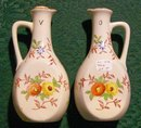 Japanese Ceramic Oil & Vinegar Cruet Pair Hand-Painted/Red Stencil 1930's 5.5