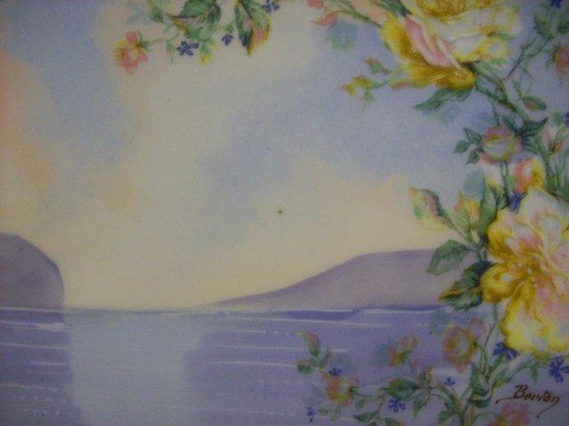 Haviland Limoges Porcelain Plate Lake & Mountain Scene Signed
