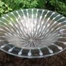 Higgins Art Glass Bowl Classic Line White/Gold Spinner 12