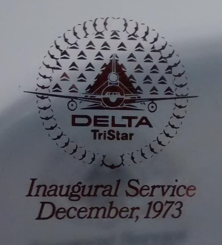 Delta Airlines Tristar Inaugural 1973 Bent Glass Tray Lockheed