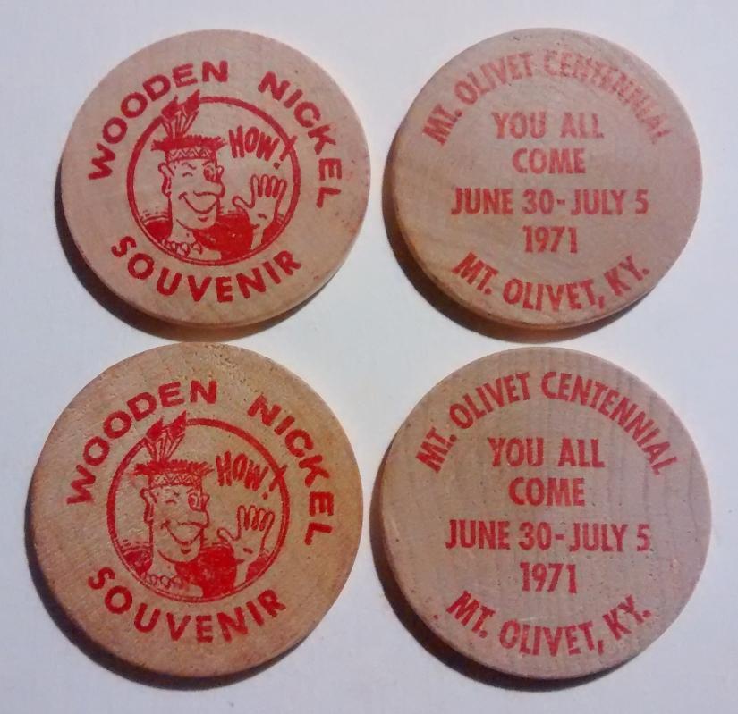 Mt. Olivet Kentucky 1971 Centenniel Wooden Nickel Set/4
