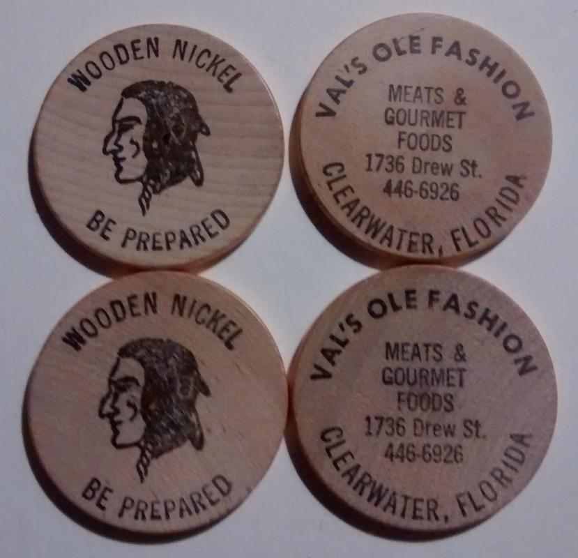 Val's Ole Fashion Meats Clearwater Florida Wooden Nickel Set/4