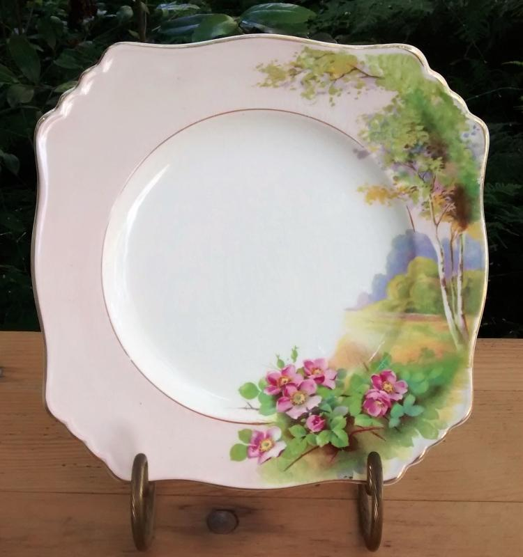 Royal Winton/Grimwades Landscape w/Wild Roses Plate 8.75