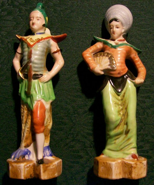 Occupied Japan Ceramic Figurines Siamese Man & Woman Matched Pair 8.25