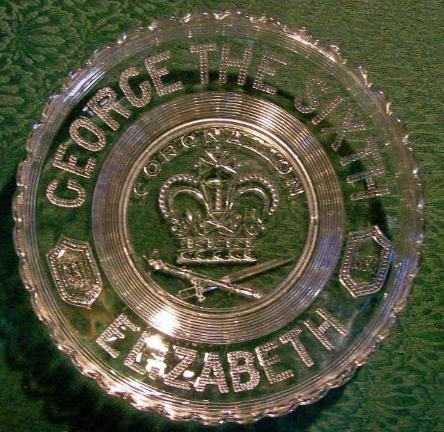1937 English Coronation Glass Plate George VI & Elizabeth