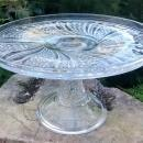 McKee Feather Cake Stand Ca. 1900 Clear Early American Pressed Glass